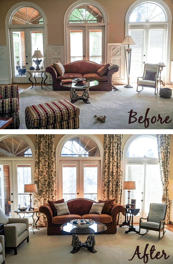 Family Room design project before and after