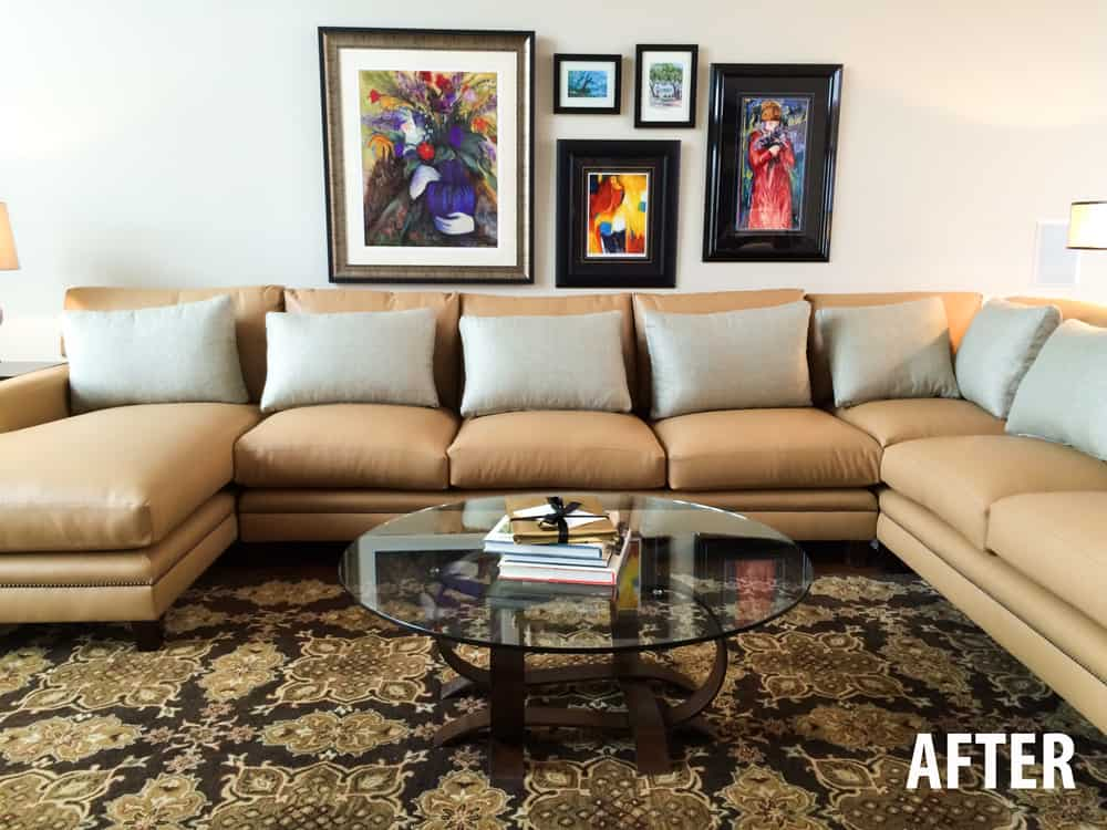 Artwork above sectional sofa
