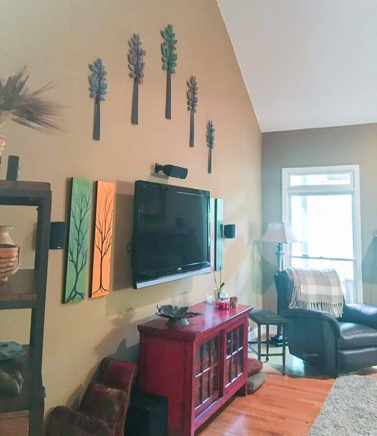 Den makeover with wall art - before