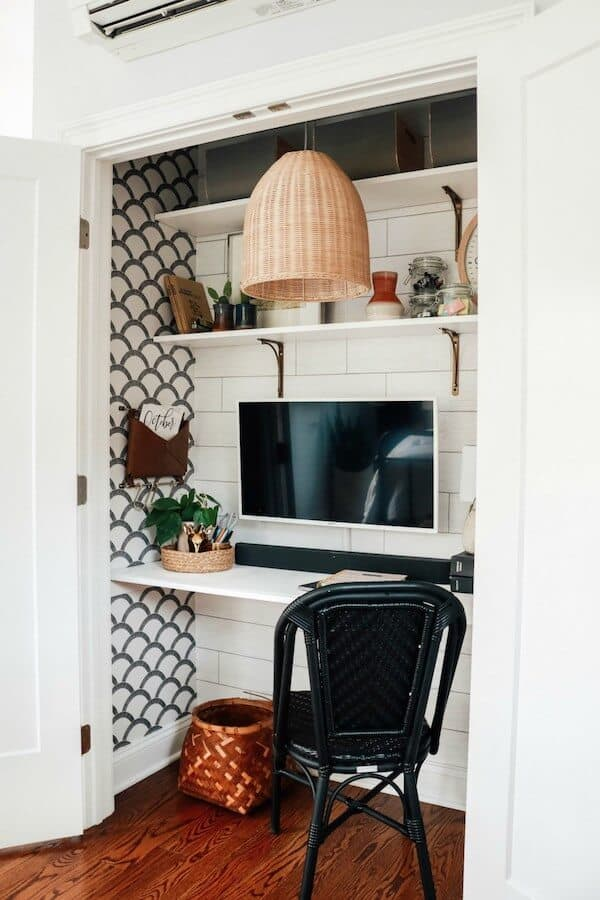 CLOFFICE CLOSET TURNED INTO AN OFFICE- SMALL SPACE HACK - Nesting With Grace