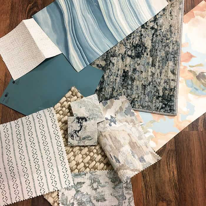 AHT Interiors color samples with Aegean Teal